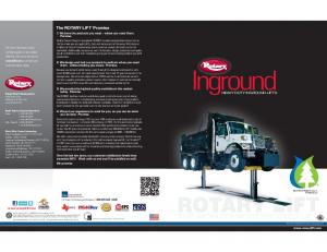 Inground THE WORLD S MOSTTRUSTEDL. The ROTARY LIFT Promise HEAVY DUTY INGROUND LIFTS
