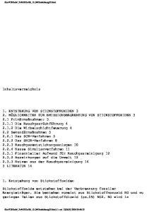 Inhaltsverzeichnis. 1. Entstehung von Stickstoffoxiden