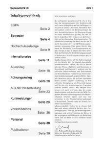 Inhaltsverzeichnis EGPA. Seite 2. Semester. Seite 4. Hochschulseelsorge. Seite 9. Internationales. Seite 11. Alumnitag. Seite 18