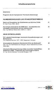 Inhaltsverzeichnis. Programm des 22. Symposiums Thermische Solarenergie 1. Stand und Perspektiven der Solarthermie aus Sicht der Politik 21