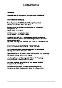 Inhaltsverzeichnis. Programm des 26. Symposiums Photovoltaische Solarenergie
