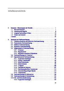 Inhaltsverzeichnis Sensoren Sinnesorgane der Technik Sensoren zur Positionserfassung