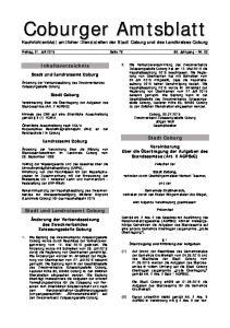 Inhaltsverzeichnis. Stadt Coburg. Stadt und Landratsamt Coburg. Nachrichtenblatt amtlicher Dienststellen der Stadt Coburg und des Landkreises Coburg