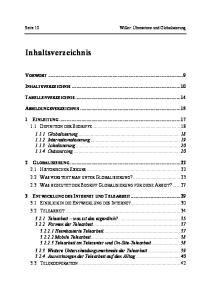 Inhaltsverzeichnis VORWORT... 9 INHALTSVERZEICHNIS TABELLENVERZEICHNIS ABBILDUNGSVERZEICHNIS... 15