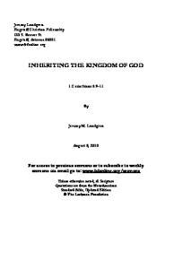 INHERITING THE KINGDOM OF GOD