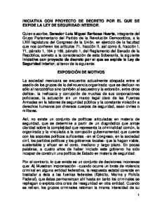 INICIATIVA CON PROYECTO DE DECRETO POR EL QUE SE EXPIDE LA LEY DE SEGURIDAD INTERIOR