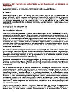 INICIATIVA CON PROYECTO DE DECRETO POR EL QUE SE EXPIDE LA LEY GENERAL DE FRONTERAS