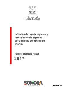 Iniciativa de Ley de Ingresos y Presupuesto de Ingresos del Gobierno del Estado de Sonora