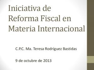 Iniciativa de Reforma Fiscal en Materia Internacional