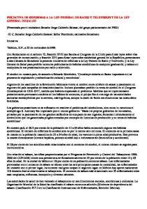 INICIATIVA DE REFORMAS A LA LEY FEDERAL DE RADIO Y TELEVISION Y DE LA LEY GENERAL DE SALUD