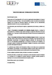 INICIATIVA SINGULAR: FORMULARIO DE REGISTRO