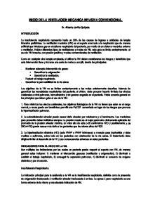 INICIO DE LA VENTILACION MECANICA INVASIVA CONVENCIONAL