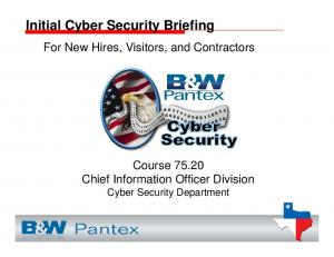 Initial Cyber Security Briefing
