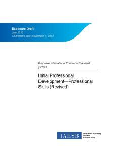 Initial Professional Development Professional Skills (Revised)