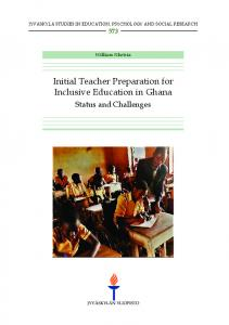 Initial Teacher Preparation for Inclusive Education in Ghana