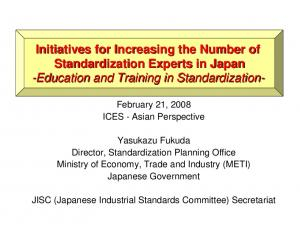 Initiatives for Increasing the Number of Standardization Experts in Japan -Education and Training in Standardization-