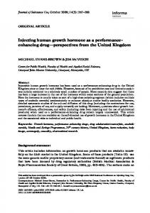 Injecting human growth hormone as a performanceenhancing drug perspectives from the United Kingdom