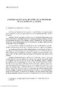 INMATRICULACION EN EL REGISTRO DE LA PROPIEDAD DE LOS BIENES DE LA IGLESIA