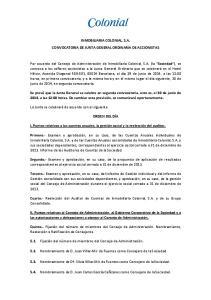 INMOBILIARIA COLONIAL, S.A. CONVOCATORIA DE JUNTA GENERAL ORDINARIA DE ACCIONISTAS
