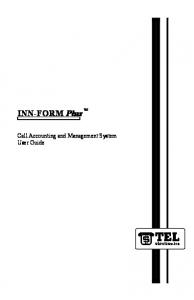 INN-FORM Plus. Call Accounting and Management System User Guide