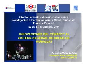 INNOVACIONES DEL CONACYT AL SISTEMA NACIONAL DE SALUD DE PARAGUAY