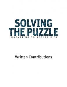 INNOVATING TO REDUCE RISK. Written Contributions