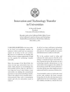 Innovation and Technology Transfer in Universities
