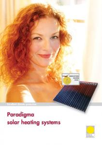 INNOVATION AWARD Excellent climate protection. Paradigma solar heating systems