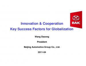 Innovation & Cooperation Key Success Factors for Globalization
