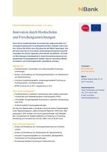 Innovation durch Hochschulen und Forschungseinrichtungen