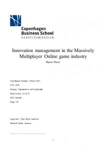 Innovation management in the Massively Multiplayer Online game industry