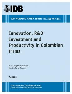 Innovation, R&D Investment and Productivity in Colombian Firms