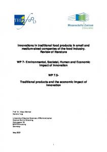 Innovations in traditional food products in small and medium-sized companies of the food industry. Review of literature