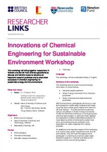 Innovations of Chemical Engineering for Sustainable Environment Workshop