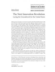 innovations The Next Innovation Revolution Laying the Groundwork for the United States James Turner