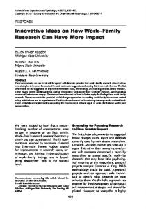 Innovative Ideas on How Work Family Research Can Have More Impact