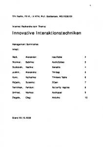 Innovative Interaktionstechniken