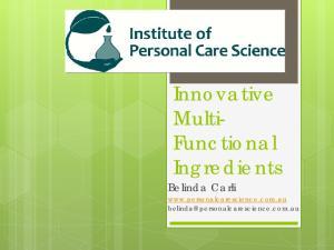 Innovative Multi- Functional Ingredients