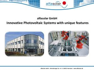 Innovative Photovoltaic Systems with unique features