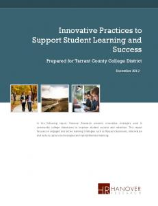 Innovative Practices to Support Student Learning and Success