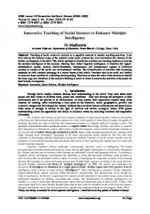 Innovative Teaching of Social Sciences to Enhance Multiple Intelligence