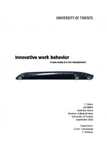 Innovative work behavior A case study at a tire manufacturer