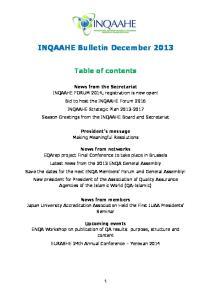 INQAAHE Bulletin December 2013