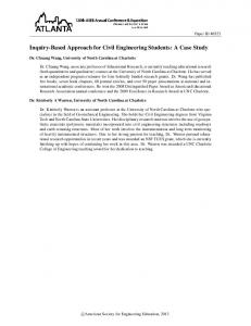 Inquiry-Based Approach for Civil Engineering Students: A Case Study