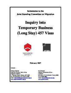 Inquiry into Temporary Business (Long Stay) 457 Visas