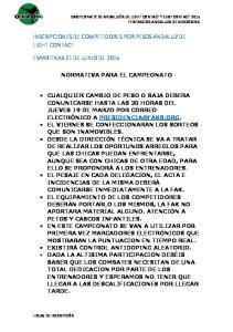 INSCRIPCIONES DE COMPETIDORES POR PESOS ANDALUZ DE LIGHT CONTACT