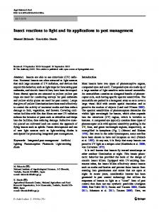 Insect reactions to light and its applications to pest management