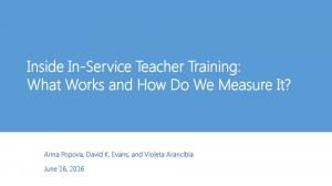 Inside In-Service Teacher Training: What Works and How Do We Measure It?