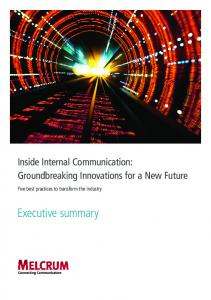 Inside Internal Communication: Groundbreaking Innovations for a New Future. Five best practices to transform the industry