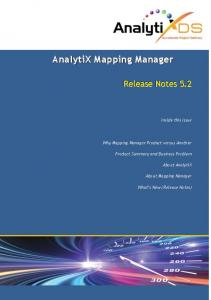 Inside this Issue. Why Mapping Manager Product versus Another. Product Summary and Business Problem. About AnalytiX. About Mapping Manager